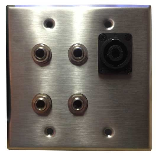 """Dual Gang with 4x 1/4"""" and 1x Speakon Wall Plate"""