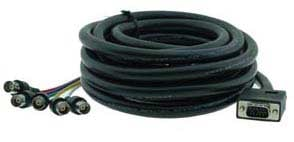 Molded Male VGA to 5 Female BNC Breakout Cable, 10 Ft