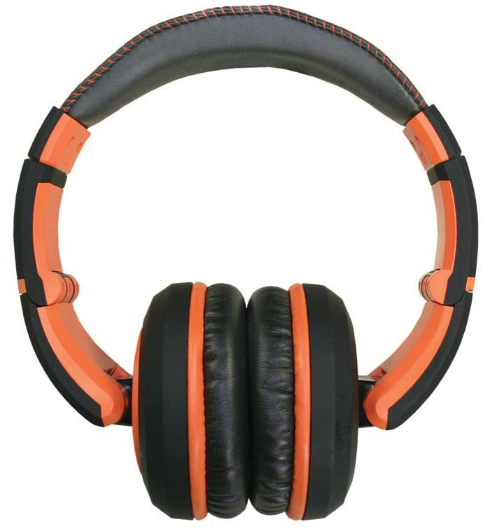 Stereo Headphones with Detachable Cable in Black & Orange