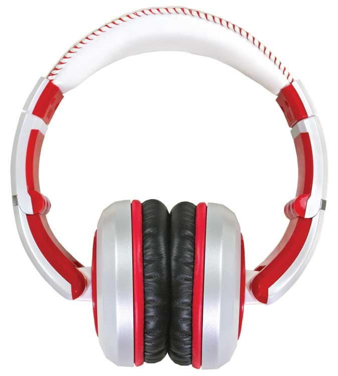 Stereo Headphones with Detachable Cable in White & Red