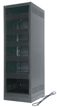 """Configured 27-Space, 25"""" D Rack with Rear Door"""