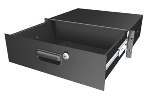"3 Space Rack Drawer with Key, 13.75"" Deep, Black"