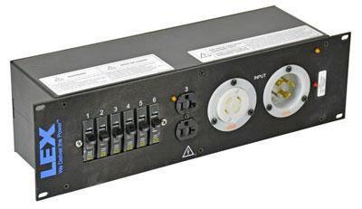 3RU Rack Mount Power Distribution, L14-30 In/Thru to Duplexes