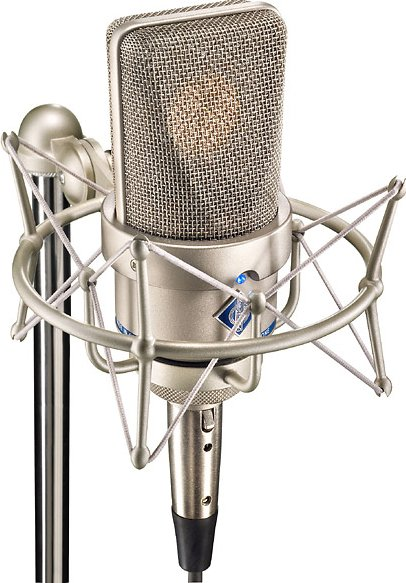 Stereo Pair of Large Diaphragm Cardioid Microphones in Satin Nickel Finish with EA 1 Shockmounts & Aluminum Case