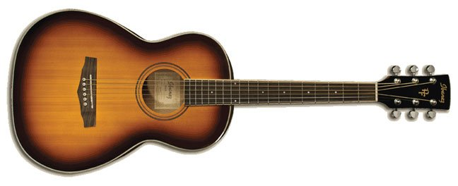 Parlor Body Acoustic Guitar, Spruce Top, Mahogany Neck, Brown Sunburst