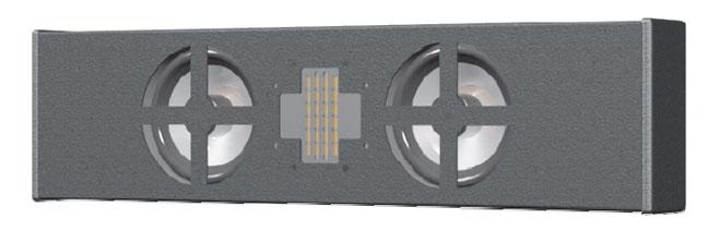 "Two-Way Horizontal-Mount Speaker, Dual 4"", Precision Ribbon HF Driver"