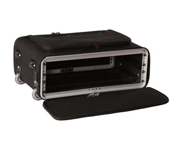 3U Lightweight rack bag with tow handle and wheels