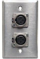 Single Gang Wall Plate with 2x Neutrik NC3FD-L-1 XLR-F Jacks