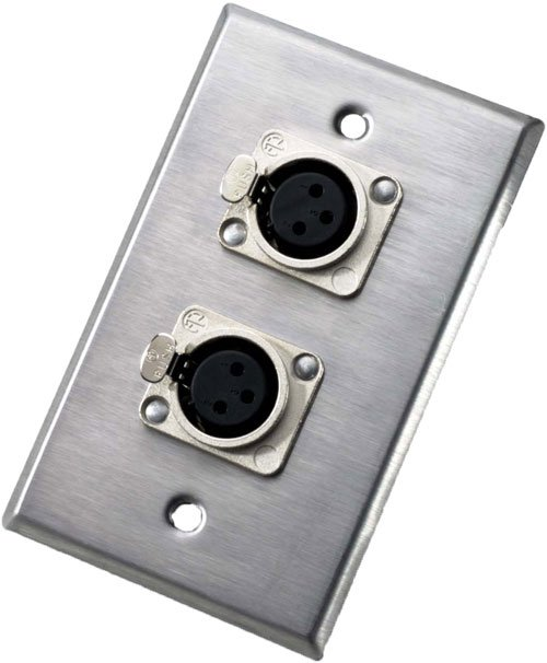 Single-Gang Wall Plate with 2x 3-Pin XLR-F Receptacles