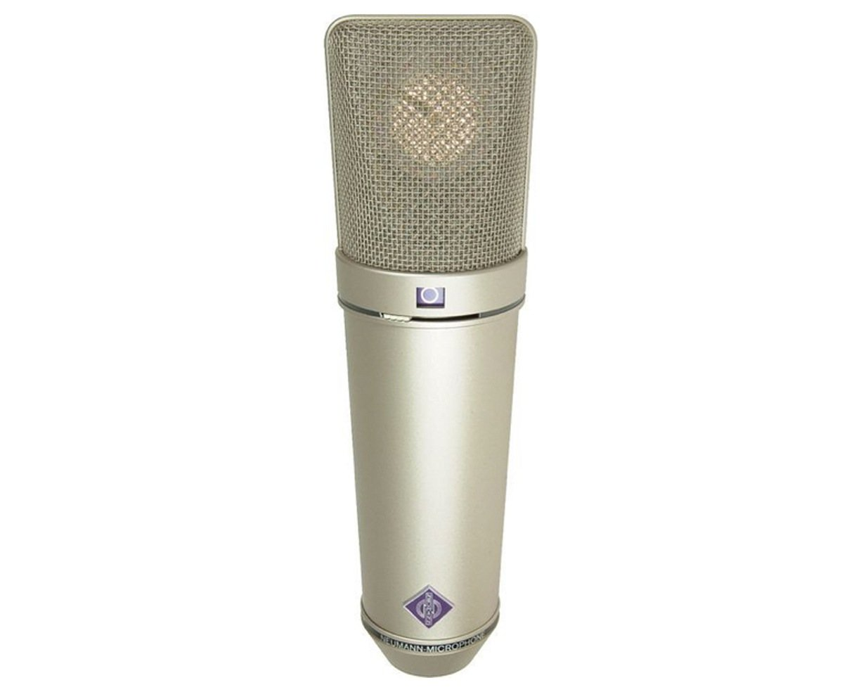 Multipattern Large Dual Diaphragm Condenser Microphone in Satin Nickel Finish with Wood Case, EA 87 Shock Mount, WS 87 Windscreen, & IC 3/25 Cable