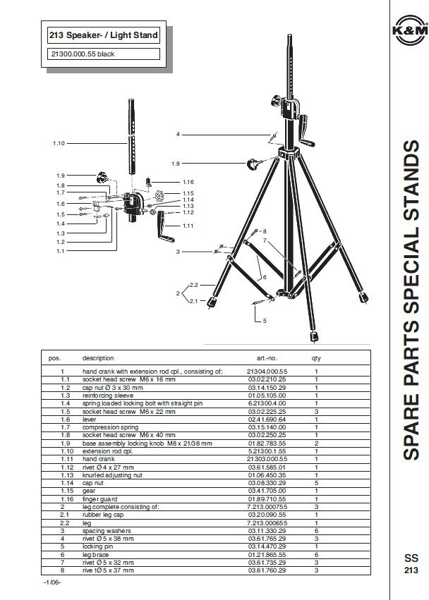 K Amp M 213 Crank Up Speaker Stand Full Compass Systems