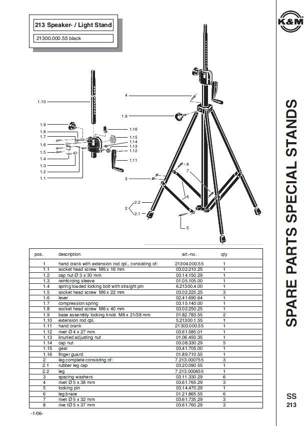 k m 213 crank up speaker stand full compass systems. Black Bedroom Furniture Sets. Home Design Ideas