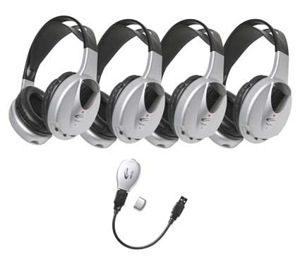 4-Person IR Wireless Headphone Pack, with Transmitter