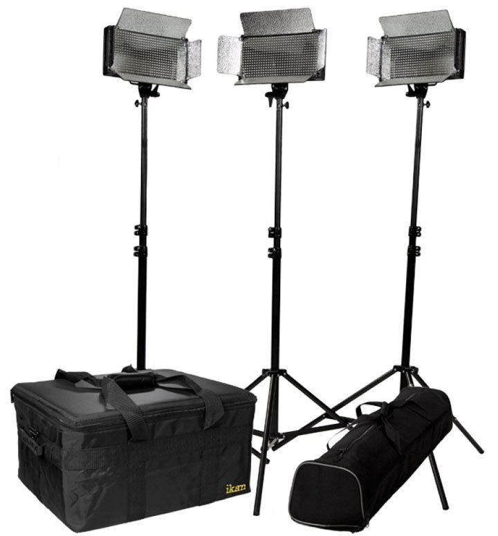 3-Point LED Light Kit with Stands & Cases