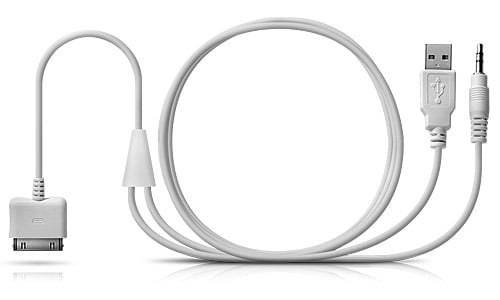 White 30-Pin iPod/iPhone Connector to USB & 3.5 mm Line Out Audio/Power Cable