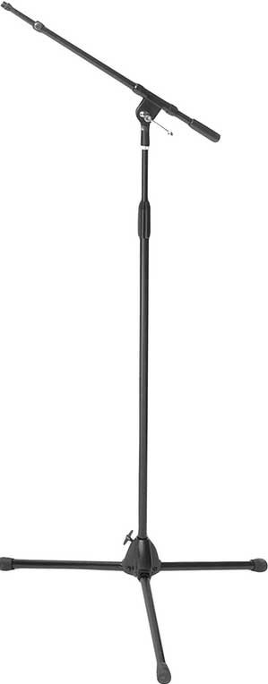 "Heavy-Duty Microphone Stand with 19""-30"" Telescoping Boom and Euro-Style Tripod Base"