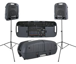 2x 250W Portable PA with 8-Channel Mixer