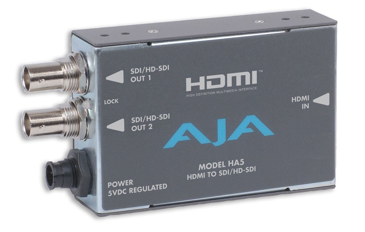 AJA Video Systems Inc HA5 HDMI to SD/HD-SDI Video and Audio Mini Converter with Power Supply HA5