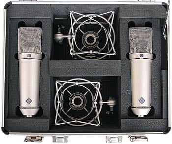 Matched Pair of U 87 Ai Multipattern Large Diaphragm Condenser Microphones with Case, 2x EA 87 Shockmounts