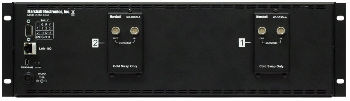"""Dual 7"""" 3RU High Resolution LCD Rack Mount Monitor with 3G-SDI Modules and Loop-Through"""