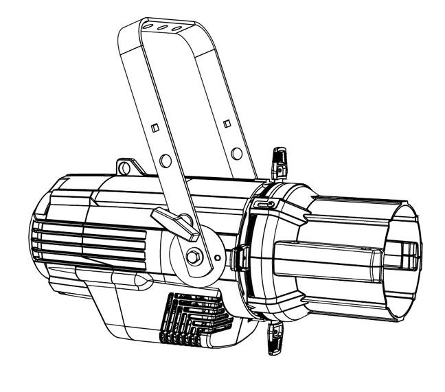 Source Four LED Lustr+ in Black, Engine Body and Shutter Barrel, Twist-Lock Connector