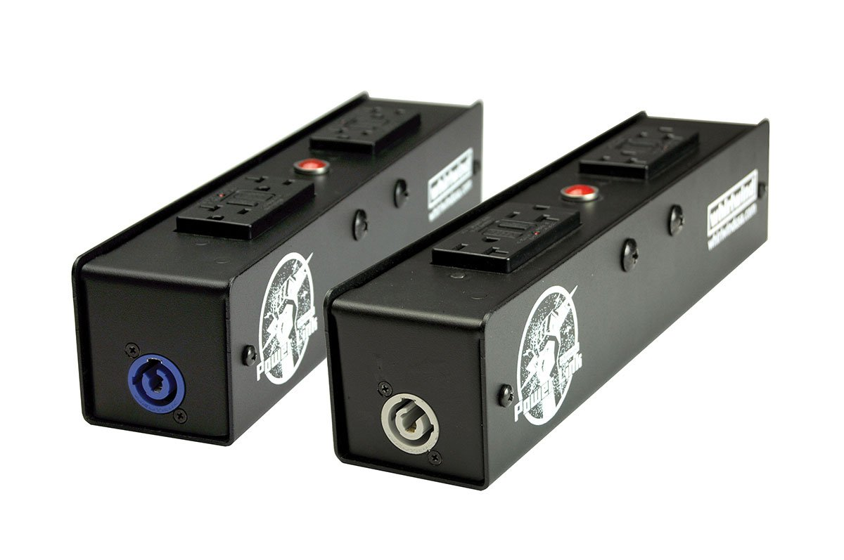 Power Link Distro with (2) 20A GFI, (1) 20A Neutrik Powercon Inlet, (1) 20A Neutrik Powercon Outlet