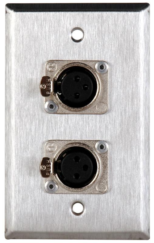 1-Gang Wall Plates with 2 Neutrik XLR D Series Connectors