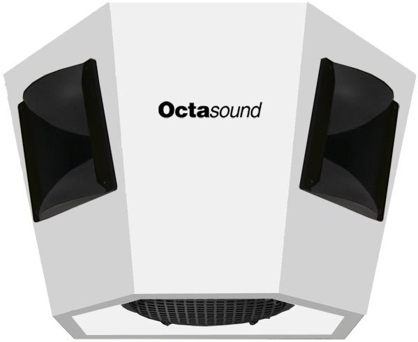 "Octasound SP520A 180° x 120° White Ceiling Speaker with 4 Horn Drivers, 15"" Subwoofer SP520A"