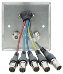Passive Wall Plate - 15-pin HD Breakout, 3.5mm Stereo Audio & 3 RCA