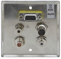 Passive Wall Plate - 15-pin HD, 3.5mm Stereo Audio, S-Video, Dual RCA