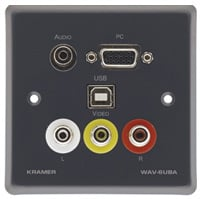 Passive Wall Plate - 15-pin HD, 3.5mm Stereo Audio, USB & 3 RCA