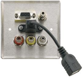 Passive Wall Plate - 15-pin HD, 3.5mm Stereo Audio, USB & 3 RCA