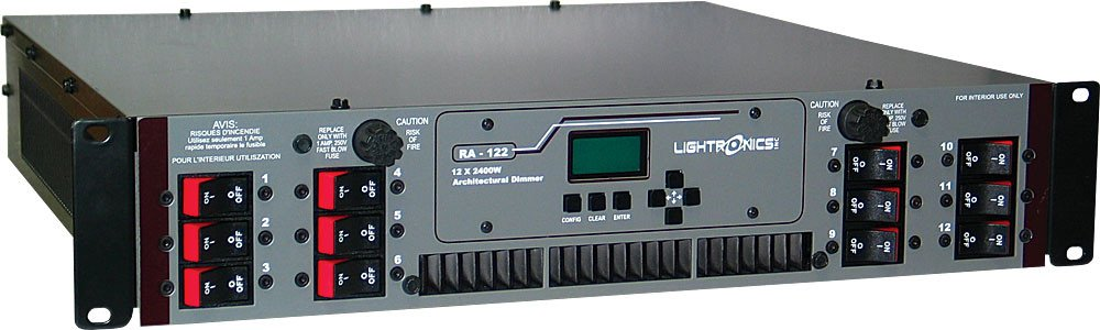 12 Channel x 2400W Architectural Rack Mount Dimmer with Terminal / Barrier Connector Strip with Knockout Cover