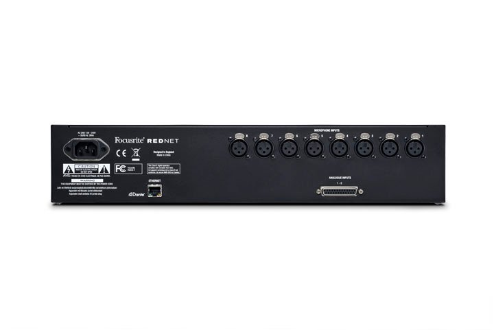 8 channel remote controlled mic preamp and A-D interface for RedNet professional audio networking system