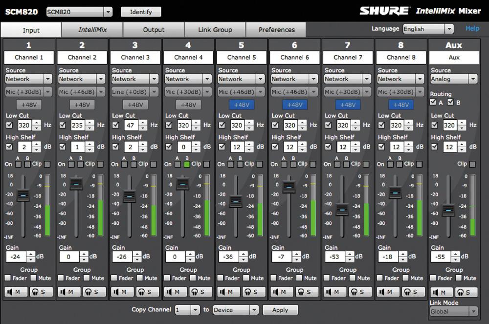 8 Ch Intellimix Digital Mixer with Dante RJ45