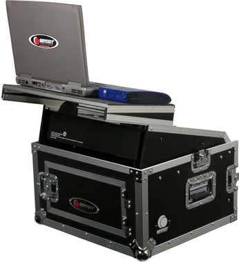 Glide Style Combo Rack Case (10 RU Slanted, 4 RU Vertical, with Sliding Laptop Platform)