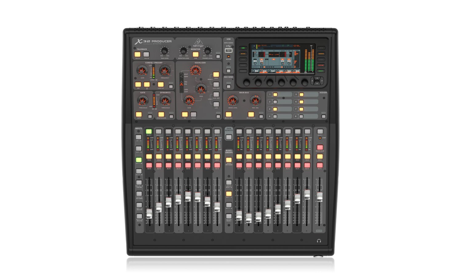 behringer x32 producer 40 channel 25 bus digital mixer with 16 microphone preamps full compass. Black Bedroom Furniture Sets. Home Design Ideas