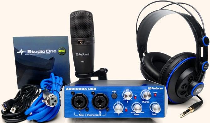 AudioBox 2x2 USB Interface with HD7 Headphones, M7 Mic, Studio One Software