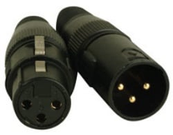Two 3-Pin XLR Connectors with Gold Pins - 1 Male & 1 Female