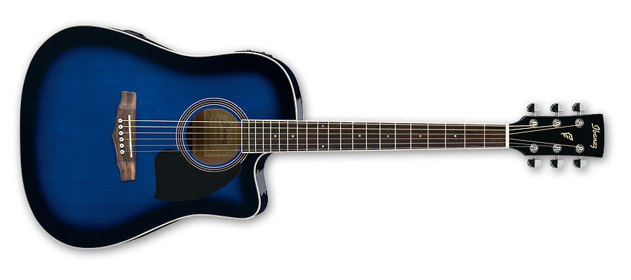 Electric Acoustic Guitar, Transparent Blue Sunburst finish