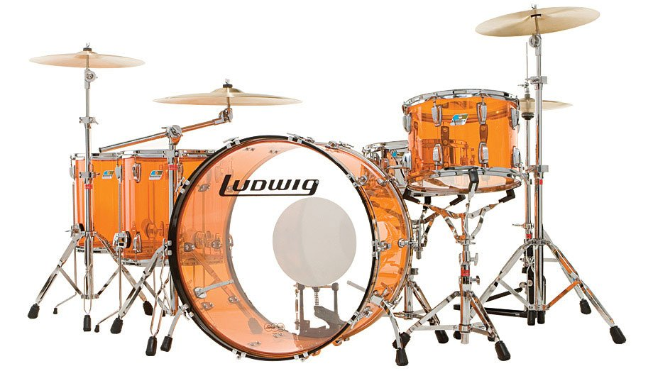 """Ludwig Drums L8264LX47 Vistalite """"Zep Set"""" 5 Piece Shell Pack in Amber L8264LX47"""