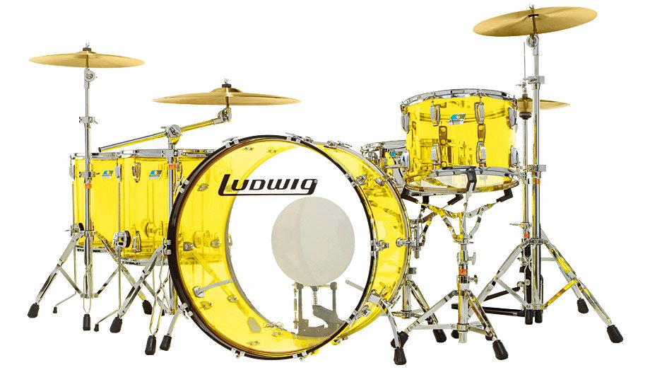 "Ludwig Drums L8264LX56 Vistalite ""Zep Set"" 5 Piece Shell Pack in Yellow L8264LX56"