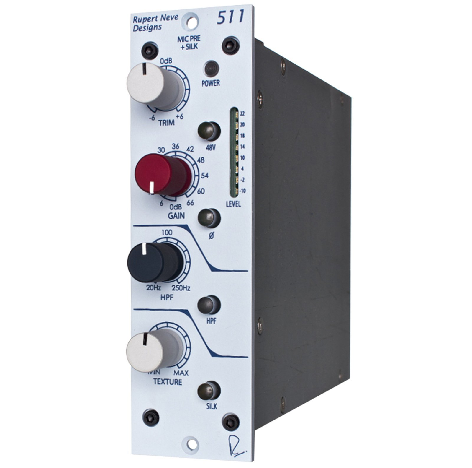 500 Series Microphone Preamp with Variable Silk/Texture, Sweepable High Pass Filter