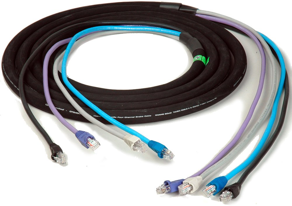 4-Channel RJ45 CAT5e Tactical Ethernet Snake Cable, 100ft