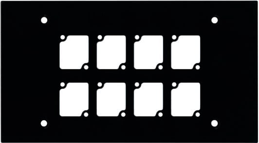 4-Gang Wall Plate, with 8 Cutouts, Black