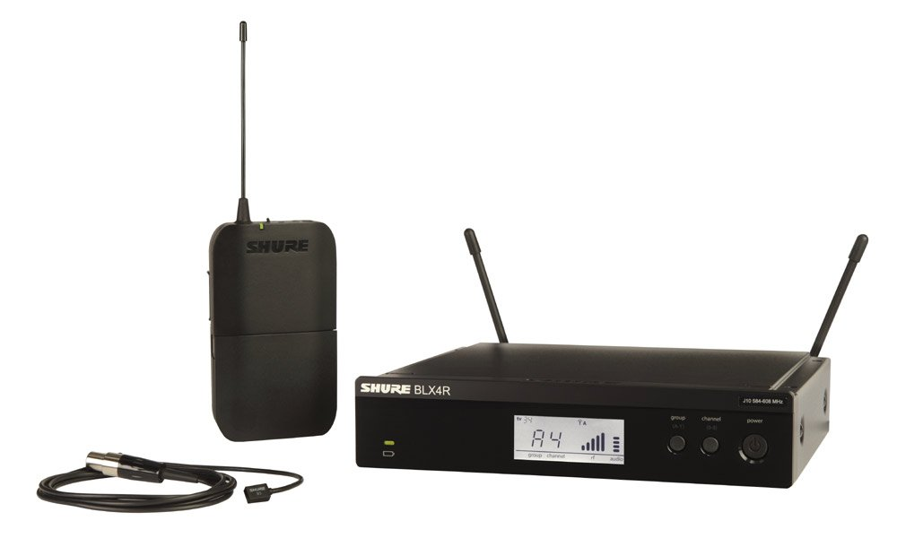Shure BLX14R/W93-J10 Wireless Presenter System with WL93 Lavalier Microphone, 584-608 MHz BLX14R/W93-J10