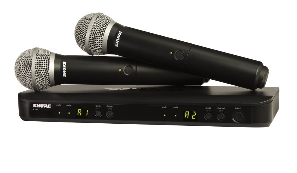 Dual Wireless Microphone System with 2x PG58 Handheld Transmitters, 584-608 MHz