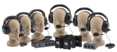 2-Channel 6-Headset Intercom System with Foam Case