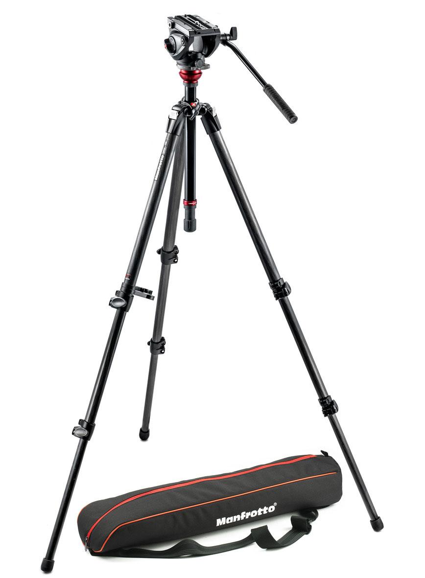 Lightweight Fluid Video Tripod System with MDeVe Carbon Fiber Legs