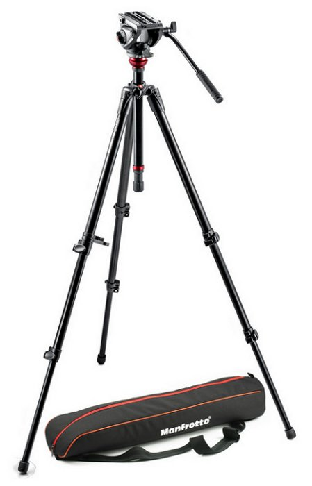 Lightweight Fluid Video Tripod System with MDeVe Aluminum Legs